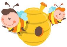被隔绝的例证蜂和蜂箱 库存照片