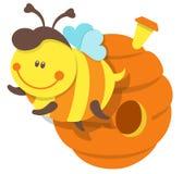 被隔绝的例证蜂和蜂箱 免版税库存照片