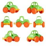 被隔绝的儿童玩具汽车 不同的角度 免版税库存图片