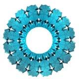 被隔绝的分成三角形的蓝色雪花圈子框架墙纸 库存图片