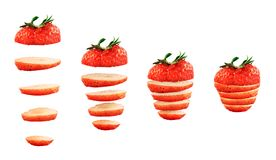 被隔绝的切的草莓 免版税库存照片
