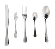 被隔绝的利器银器或扁平的餐具 免版税库存图片