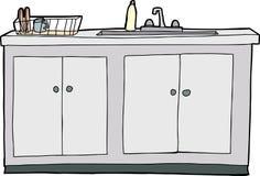 被隔绝的厨房水槽 免版税库存图片