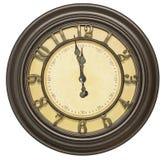 被隔绝的古色古香的时钟表盘十二背景 免版税库存图片