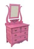 被隔绝的古色古香的桃红色梳妆台。 免版税库存图片
