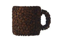 被隔绝的咖啡豆杯子 免版税库存照片