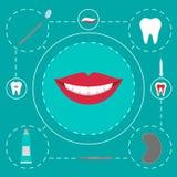 被隔绝的商标牙齿工具 牙医关心和药物治疗 口腔医学集合 库存图片