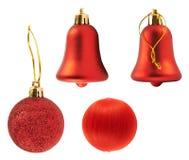 被隔绝的四个红色装饰形象 免版税库存照片