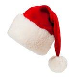 被隔绝的圣诞节圣诞老人红色帽子 免版税库存图片