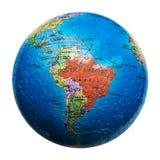 被隔绝的地球难题 南美国的映射 面包渣 库存照片