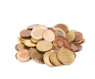 被隔绝的多枚欧洲硬币 免版税库存照片