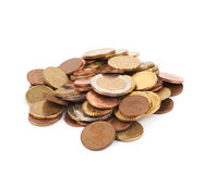 被隔绝的多枚欧洲硬币 免版税图库摄影