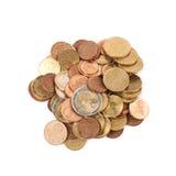 被隔绝的多枚欧洲硬币 免版税库存图片