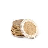 被隔绝的多枚欧洲硬币 库存图片
