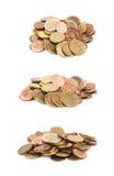 被隔绝的多枚欧洲硬币 图库摄影