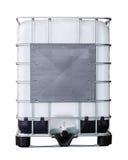 被隔绝的大块塑料油或液体容器和金属笼子 图库摄影