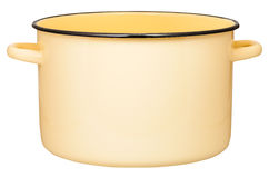 被隔绝的大黄色搪瓷汤锅侧视图  库存照片