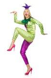 被隔绝的妇女佩带的小丑服装 免版税库存图片