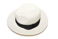 妇女白色海滩帽子 库存图片