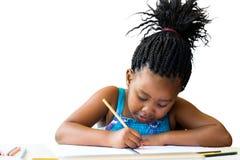 被隔绝的小的非洲女孩图画 免版税库存照片