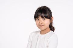 -被隔绝的少年亚洲女孩儿童演播室画象射击 库存图片