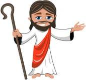 被隔绝的微笑的耶稣基督开放手棍子 免版税库存图片