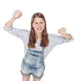被隔绝的恼怒年轻时尚女孩尖叫 顶视图 库存照片