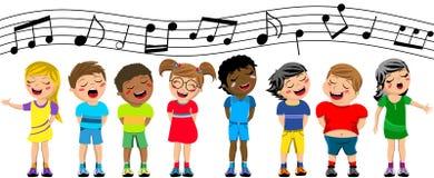 被隔绝的愉快的儿童孩子唱歌合唱 库存图片