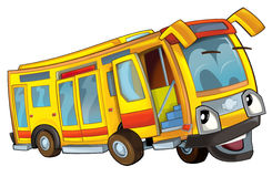 被隔绝的愉快的动画片公共汽车 图库摄影