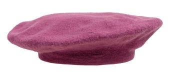 被隔绝的手工制造毛毡贝雷帽侧视图  免版税图库摄影