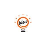 被隔绝的抽象橙色颜色电灯泡等高略写法,点燃在白色背景的商标,想法标志传染媒介 免版税库存照片