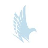 被隔绝的抽象蓝色颜色老鹰,猎鹰剪影商标鹰  危险狩猎鸟略写法 飞过象 航空 免版税图库摄影