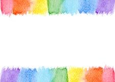 被隔绝的抽象水彩框架彩虹七淡色背景 免版税库存照片