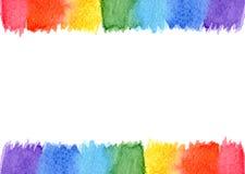 被隔绝的抽象水彩框架彩虹七颜色背景 库存照片