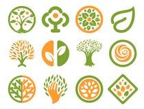 被隔绝的抽象绿色,橙色颜色自然商标集合 自然略写法汇集 环境象 公园象征 免版税库存照片