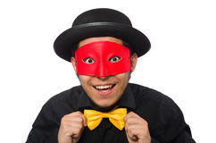 黑被隔绝的服装和红色面具的年轻人 免版税库存图片