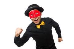 黑被隔绝的服装和红色面具的年轻人 库存照片