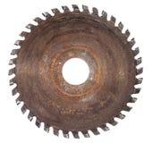 被隔绝的木工作的老圆锯条 免版税库存照片