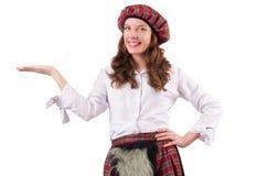 被隔绝的格子花呢披肩红色衣物的俏丽的女孩  图库摄影