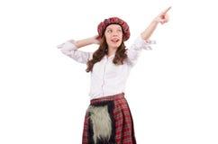 被隔绝的格子花呢披肩苏格兰衣物的俏丽的女孩  免版税库存图片