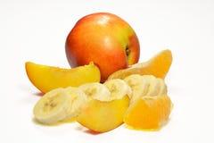 被隔绝的桃子香蕉和桔子 库存照片