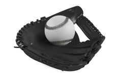 被隔绝的棒球皮手套 免版税库存图片