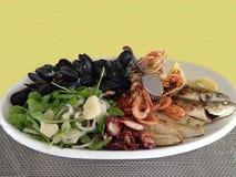 被隔绝的海鲜盛肉盘:新鲜的热的混杂的烤淡菜、海螯虾、虾、章鱼和鱼与芝麻菜、葱和柠檬 库存图片