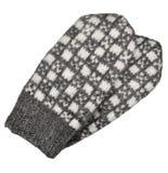 被隔绝的灰色手套对,灰色白色构造了羊毛手套样式,被编织的温暖的羊毛冬天无指的失去指的手套细节,特写镜头 免版税库存图片