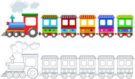 被隔绝的玩具五颜六色的火车着色页 免版税库存照片