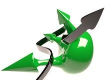 被隔绝的球形和箭头, 3D 免版税库存图片