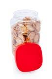 被隔绝的瓶子小开胃菜薄脆饼干 免版税库存图片