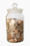 被隔绝的瓶子硬币 免版税库存图片