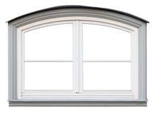 被隔绝的白色曲拱小现代木窗口 免版税库存照片