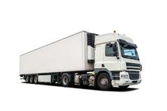 被隔绝的白色重型卡车 免版税库存照片